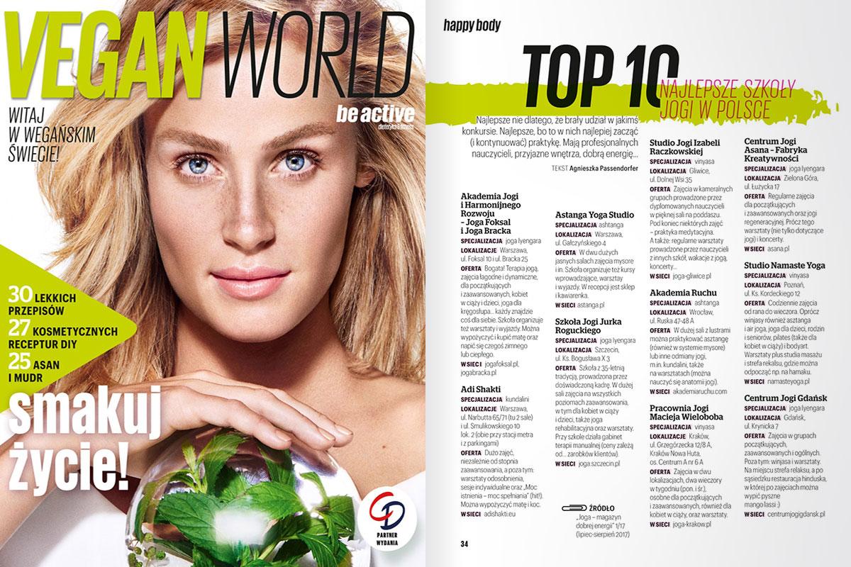 Vegan ~Word - dodatek specjalny magazynu Be Active - Top 10 najlepsze szkoły jogi w polsce