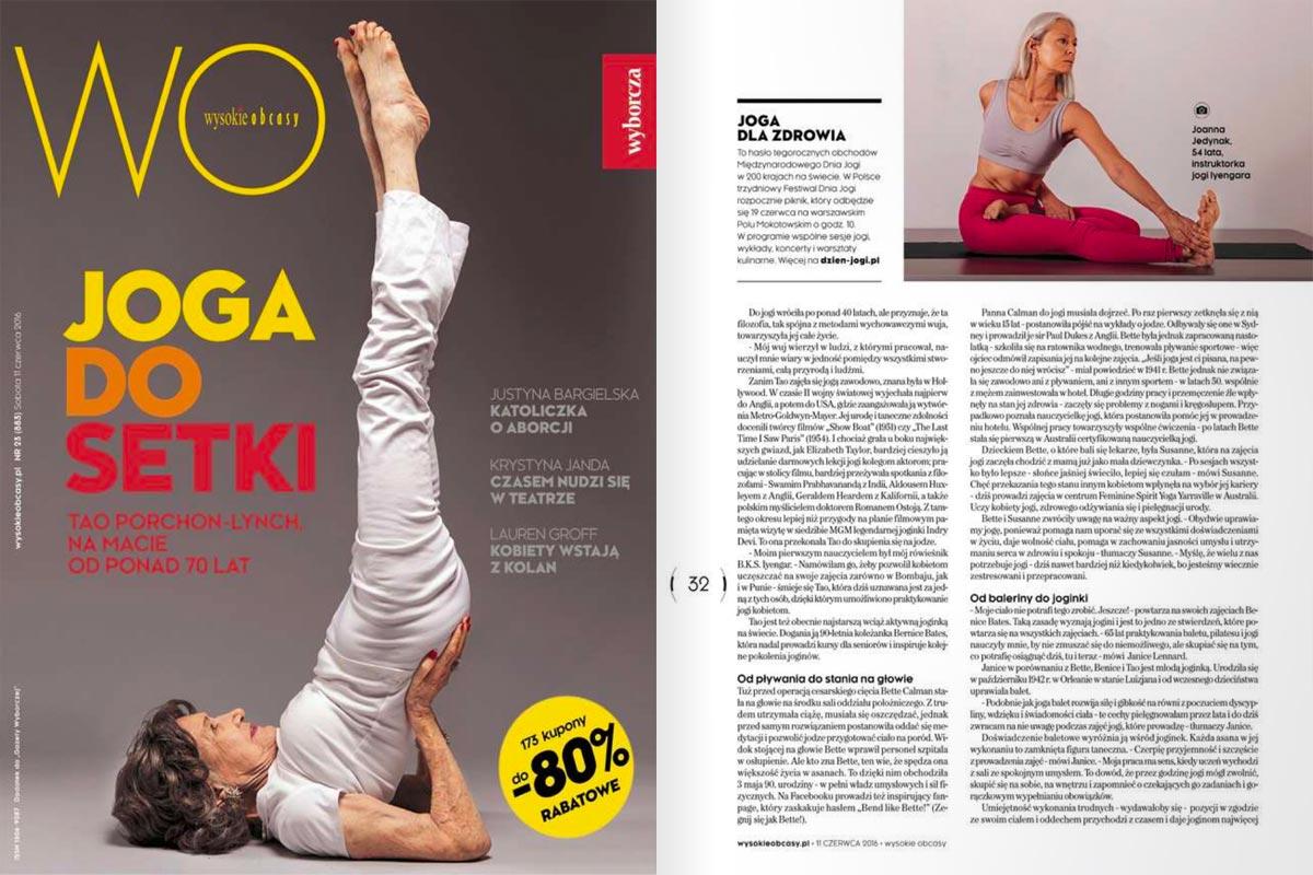 """Joanna Jedynak z Joga Foksal i Bracka - artykuł w magazynie """"Wysokie Obcasy"""""""