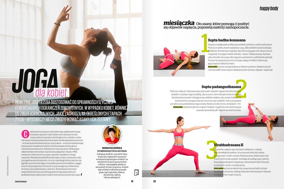 numer specjalny magazynu Be Active / marzec 2017, Iwona Pachońska o jodze dla kobiet
