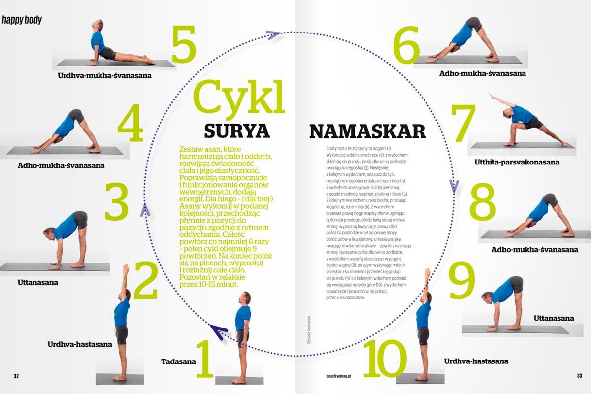 numer specjalny magazynu Be Active / marzec 2017, Adam Ramotowski przedstawia cykl SURYA NAMASKAR