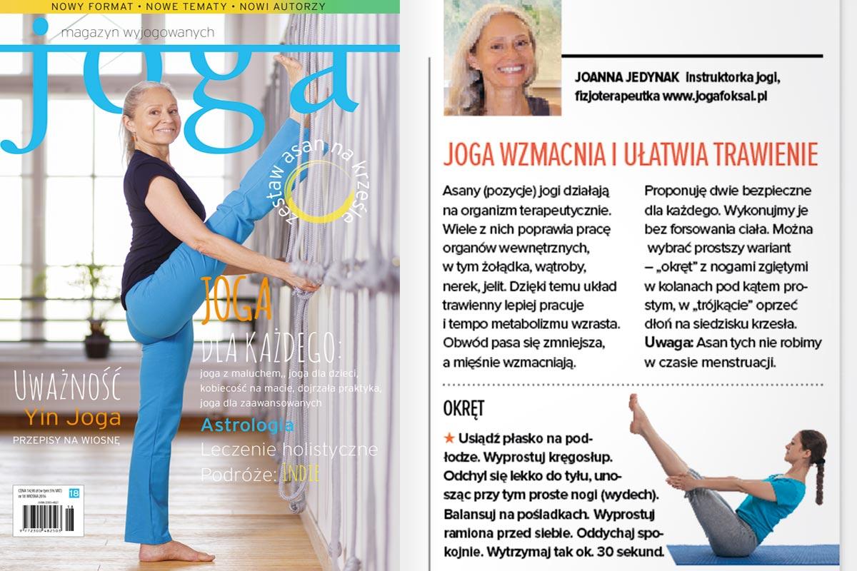 Joanna Jedynak na okładce Joga - magazyn wyjogowanych, wiosna 2016