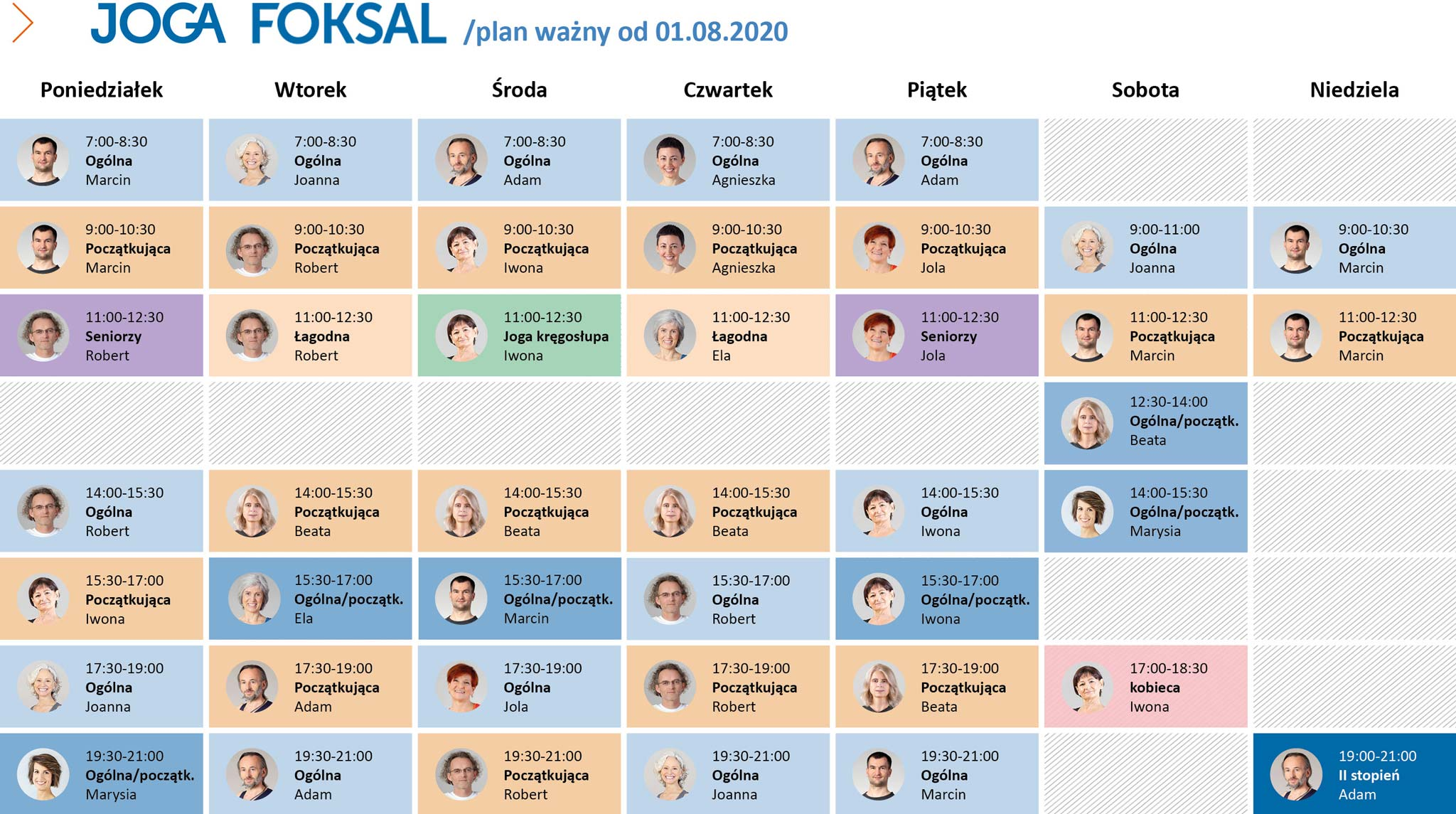 Plan zajęć na Foksal od 1 sierpnia 2020 r.